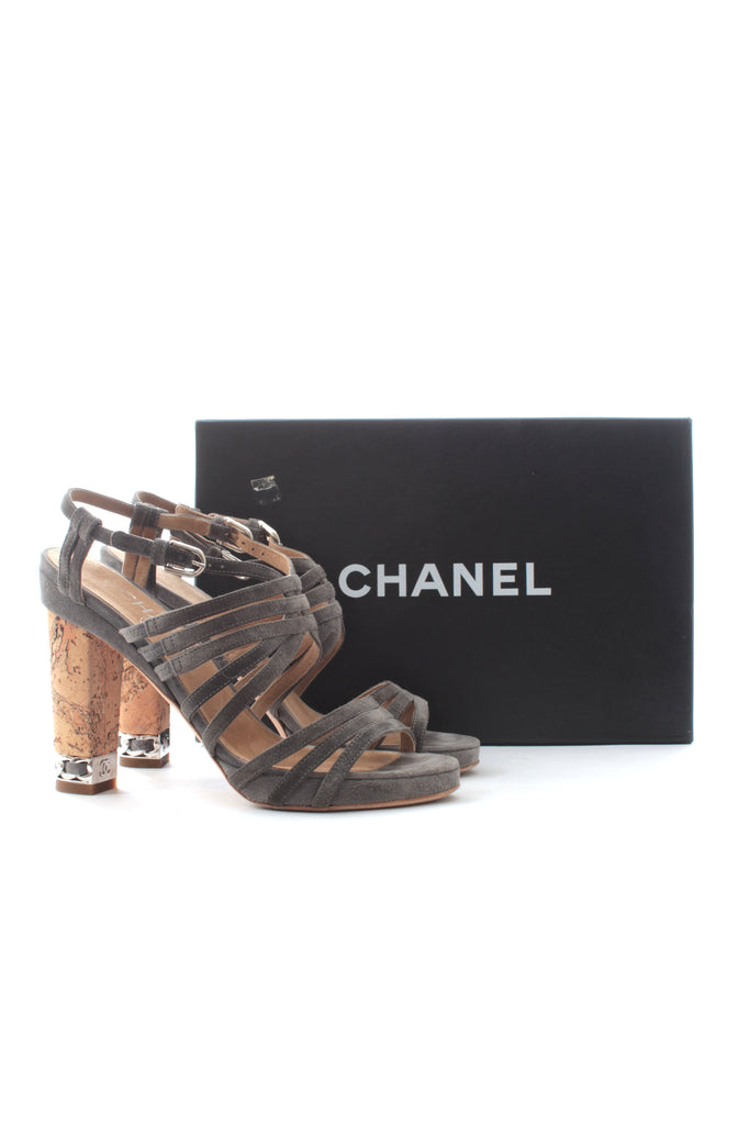 Chanel Chain-Detailed Suede Strap Sandals