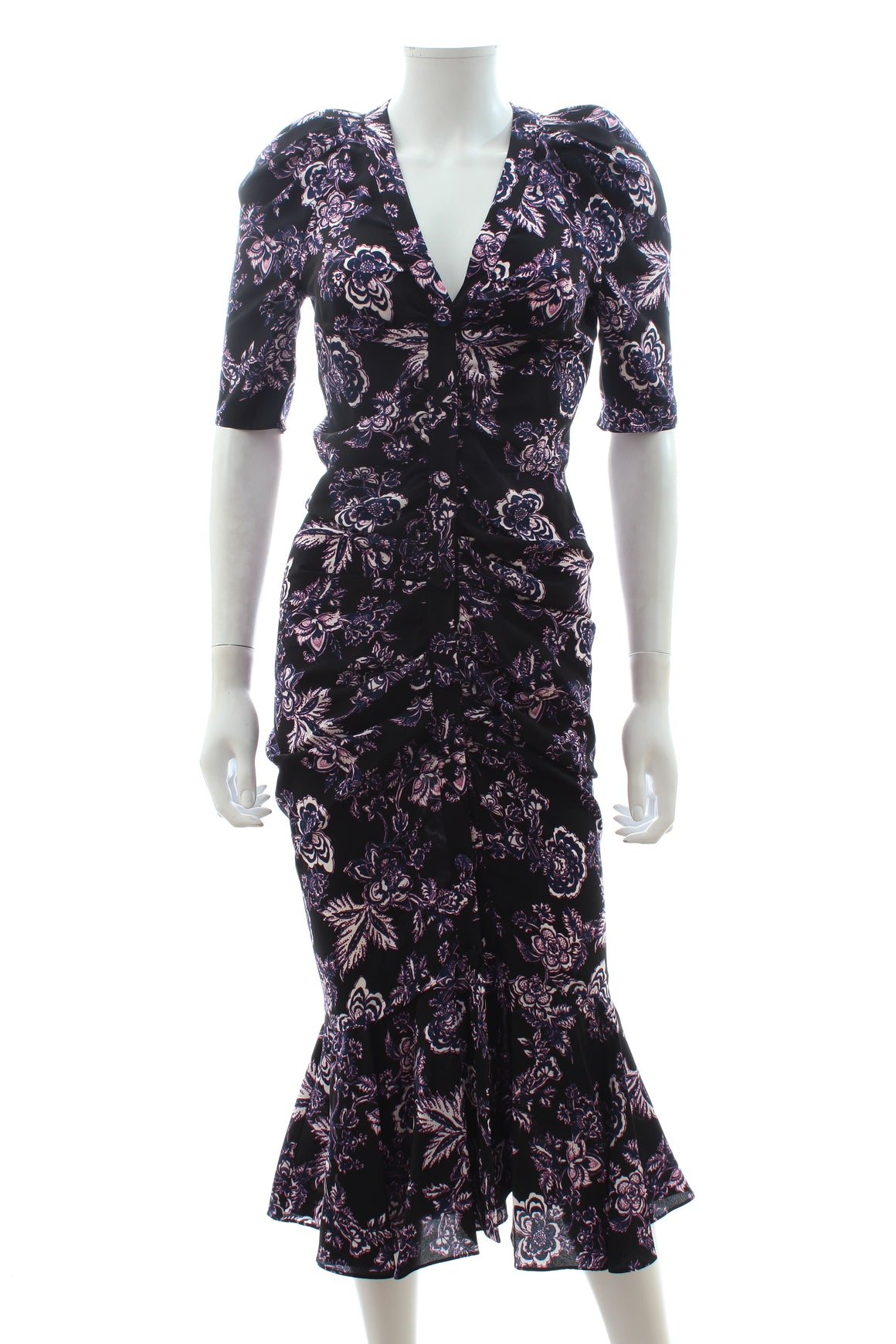 Veronica Beard 'Kent' Floral Print Ruched Silk Dress