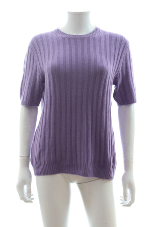 Prada Ribbed Cashmere Short Sleeved Sweater