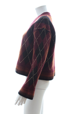 Pringle of Scotland Metallic-Trimmed Argyle Jacquard-Knit Wool-Blend Sweater