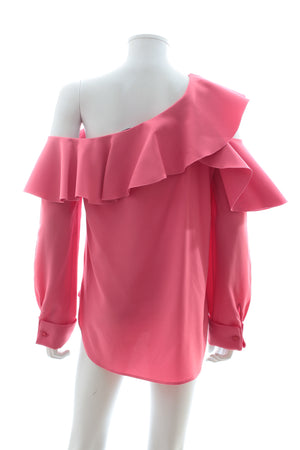 Oscar de La Renta Ruffled Silk-Blend Top