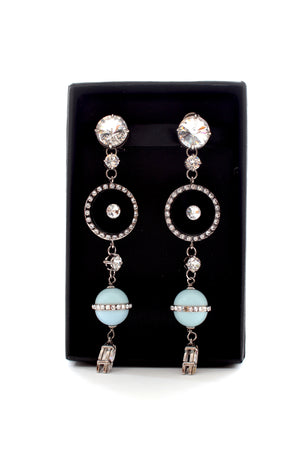 Miu Miu Enamel and Crystal Drop Earrings
