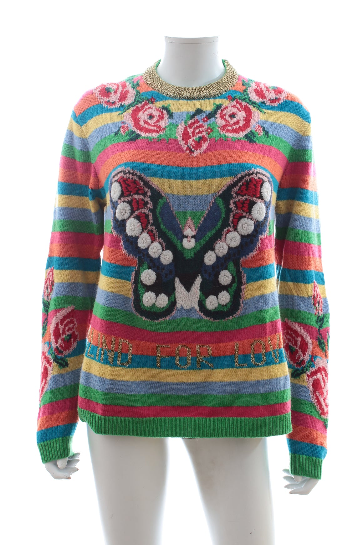 Gucci Blind For Love Rainbow Embroidered Sweater