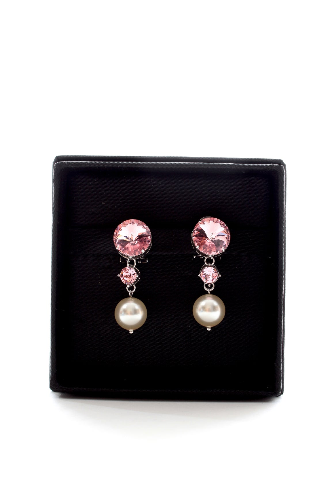 Miu Miu Pearl and Crystal Drop Earrings