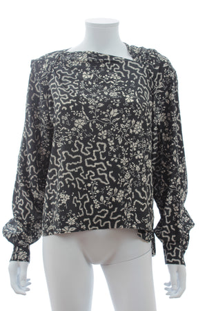 Isabel Marant Asymmetric Silk Printed Blouse