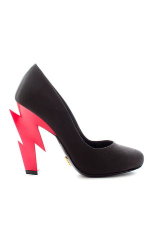 Prada Lightning Bolt Satin Pumps