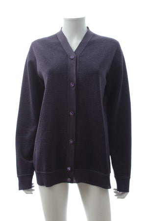 Louis Vuitton Crystal-Button Wool-Blend Metallic Cardigan