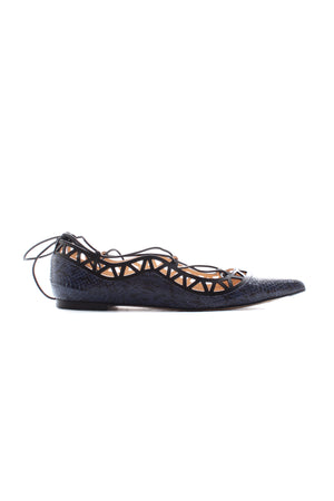 Bionda Castana 'Aida' Elaphe Laser-Cut Lace Up Flats
