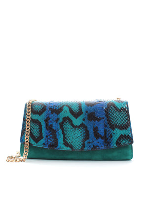 Sergio Rossi Python and Suede Chain Shoulder Bag