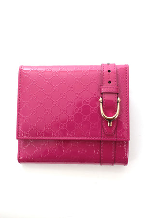 Gucci Nice MicroGuccissima Patent Leather Tri-Fold Wallet