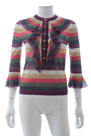 Gucci Multi Striped Lurex Ruffle Knit Sweater