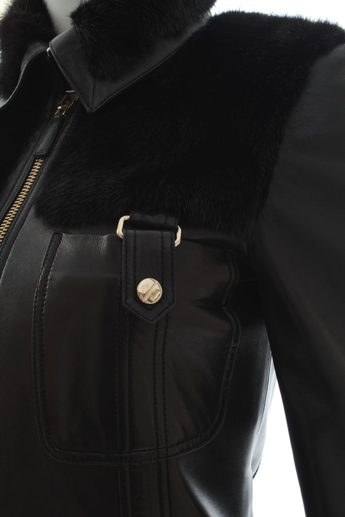 Gucci Leather and Mink Fur Jacket W/Interlocking G Belt