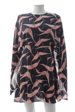 Valentino Bird Print Silk Cape Dress