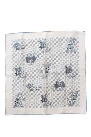 Gucci GG Monogram and Cartoon Dog Silk Scarf