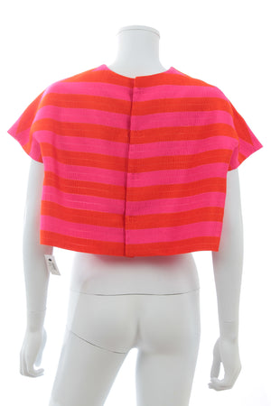 Delpozo Striped-Jacquard Cropped Top