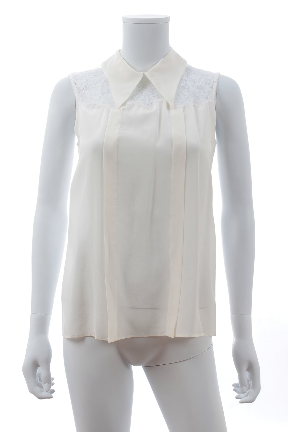 Miu Miu Lace-Trimmed Silk Sleeveless Blouse