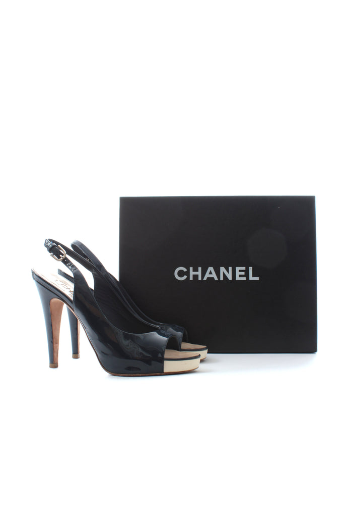 Chanel Patent Leather Open Toe Slingback Sandals