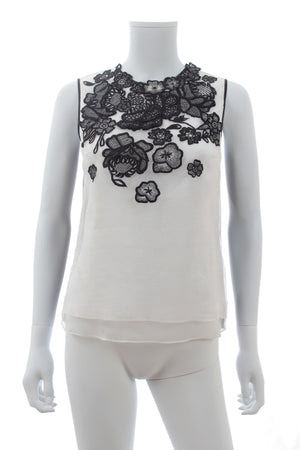 Erdem Naomi Flower Embroidered Organza Top