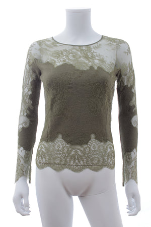 Ermanno Scervino Lace Embroidered Wool-Cashmere and Silk Sweater