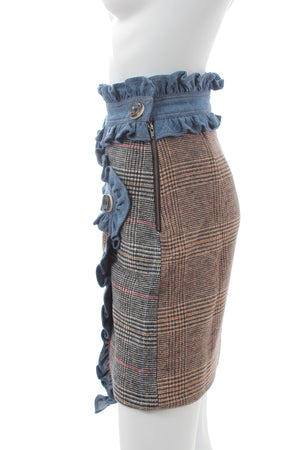 Manoush Farah Ruffled-Denim and Wool-Blend Plaid Wrap Skirt