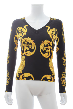 Versace Collection Baroque Print Silk-Blend Sweater