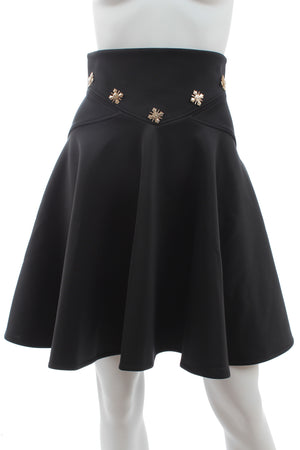 Versace Collection Embellished-Waist Flared Skirt