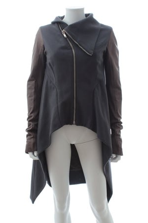 Rick Owens Asymmetric Wool and Leather Jacket