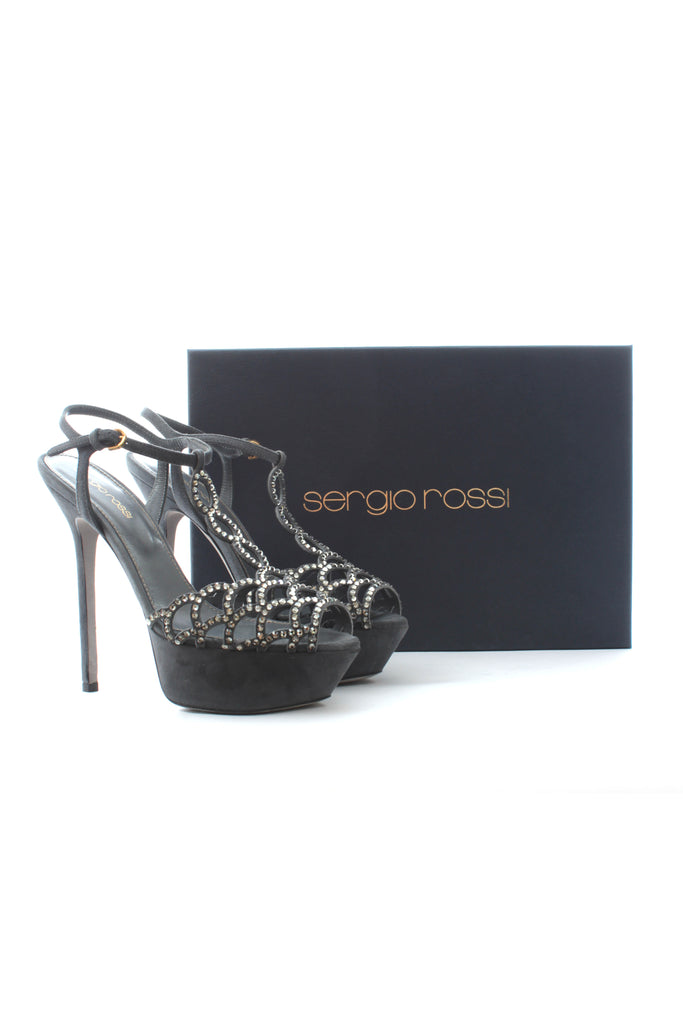 Sergio Rossi 'Vague' Crystal-Embellished Cut-Out Suede Sandals