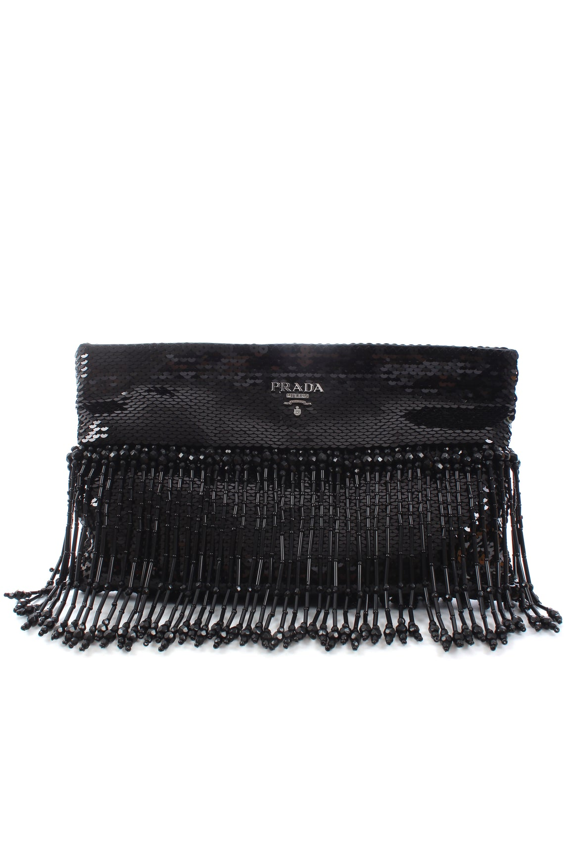 Prada Sequin-Embellished Beaded Fringe Clutch Bag