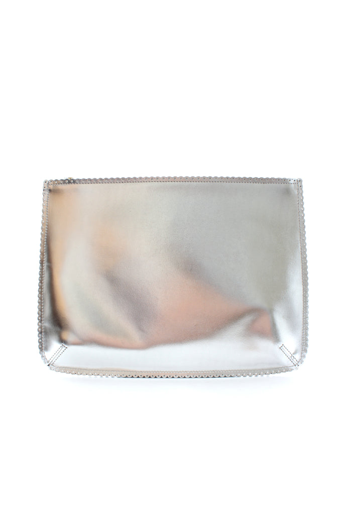 Anya Hindmarch Large Metallic Leather Scalloped Edge Clutch Bag