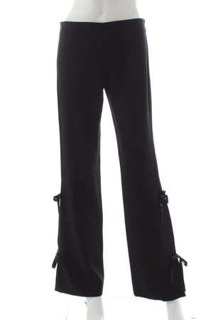 Valentino Wide Leg Tie-Detail Wool Trousers