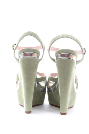 Miu Miu Suede T-Strap Wedge Sandals