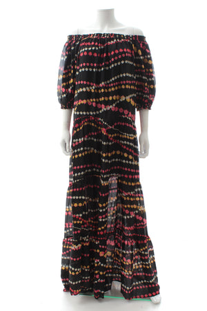 Dhela Off-the-shoulder Silk Printed Maxi Dress
