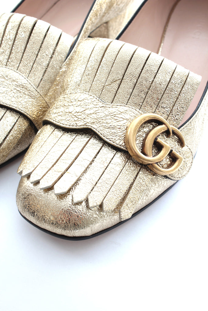 64b94fd812c Gucci Marmont Fringed Metallic Cracked-Leather Loafers – Closet Upgrade