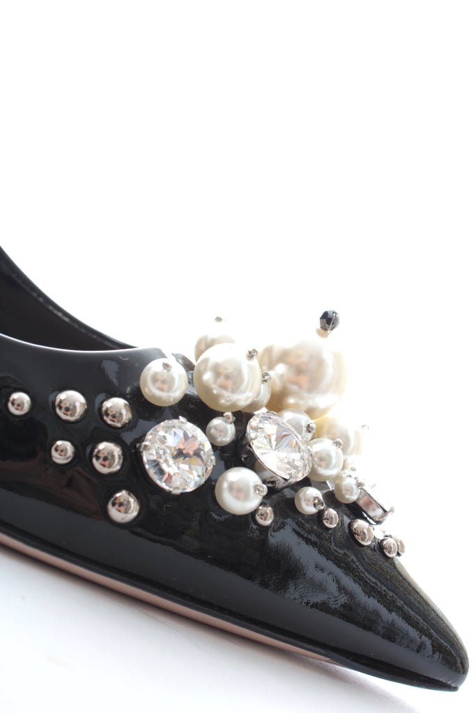 Miu Miu Pearl and Crystal Embellished Leather Pumps