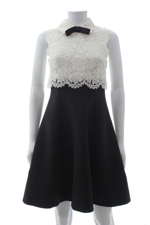 Valentino Bow Detailed Lace and Wool-Silk Blend Sleeveless Dress