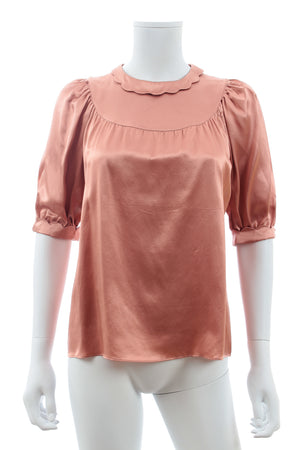 Miu Miu Scalloped Silk-Satin Blouse