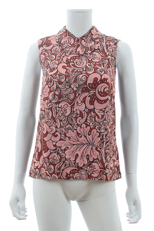 Miu Miu Sleeveless Printed Crepe Blouse