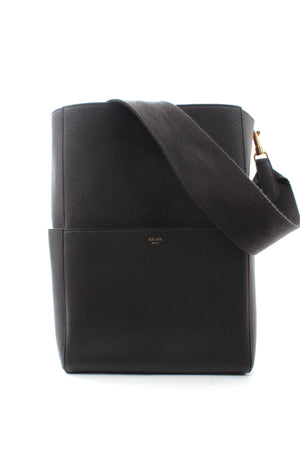 Celine Sangle Bucket Bag in Grained Calfskin Leather