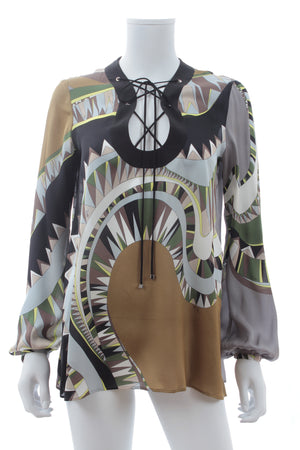 Emilio Pucci Lace Up Printed Silk Blouse