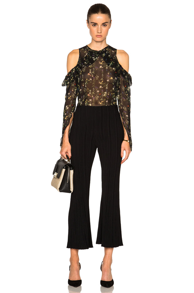Preen by Thornton Bregazzi 'Zela' Silk Printed Cold-Shoulder Blouse