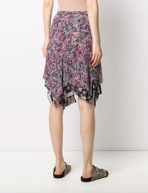 Isabel Marant Myles Silk Printed Asymmetric Skirt - Current Season