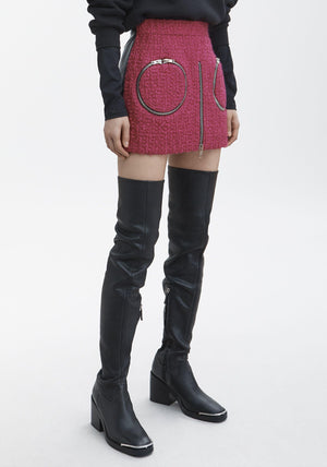 Alexander Wang Curved Zip Detail Leather and Boucle Skort - Runway Collection