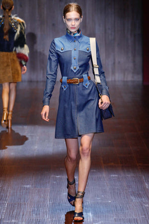 Gucci Belted Denim Dress Military-Button Dress (Runway Collection)