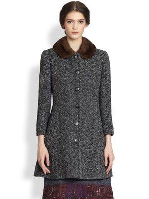 Dolce & Gabbana Wool Chevron Mink Fur Collar Coat