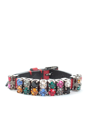 Miu Miu Crystal-Embellished Leather Buckle Bracelet