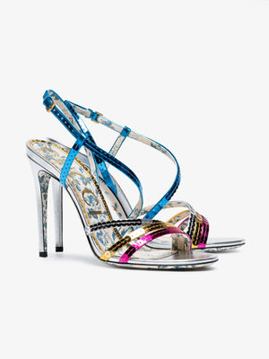 Gucci Haines Sequin-Embellished Metallic Leather Sandals - Runway Collection