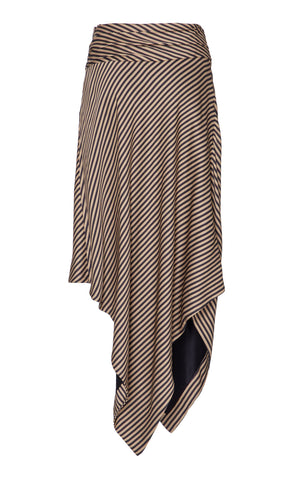 Jonathan Simkhai Striped Twist Front Draped Skirt