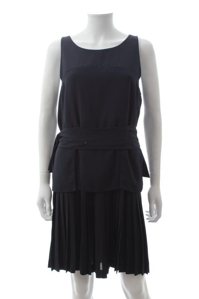 Fendi Pleated Layered Crepe Dress