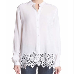 Equipment 'Henri' Lace Trimmed Silk Shirt
